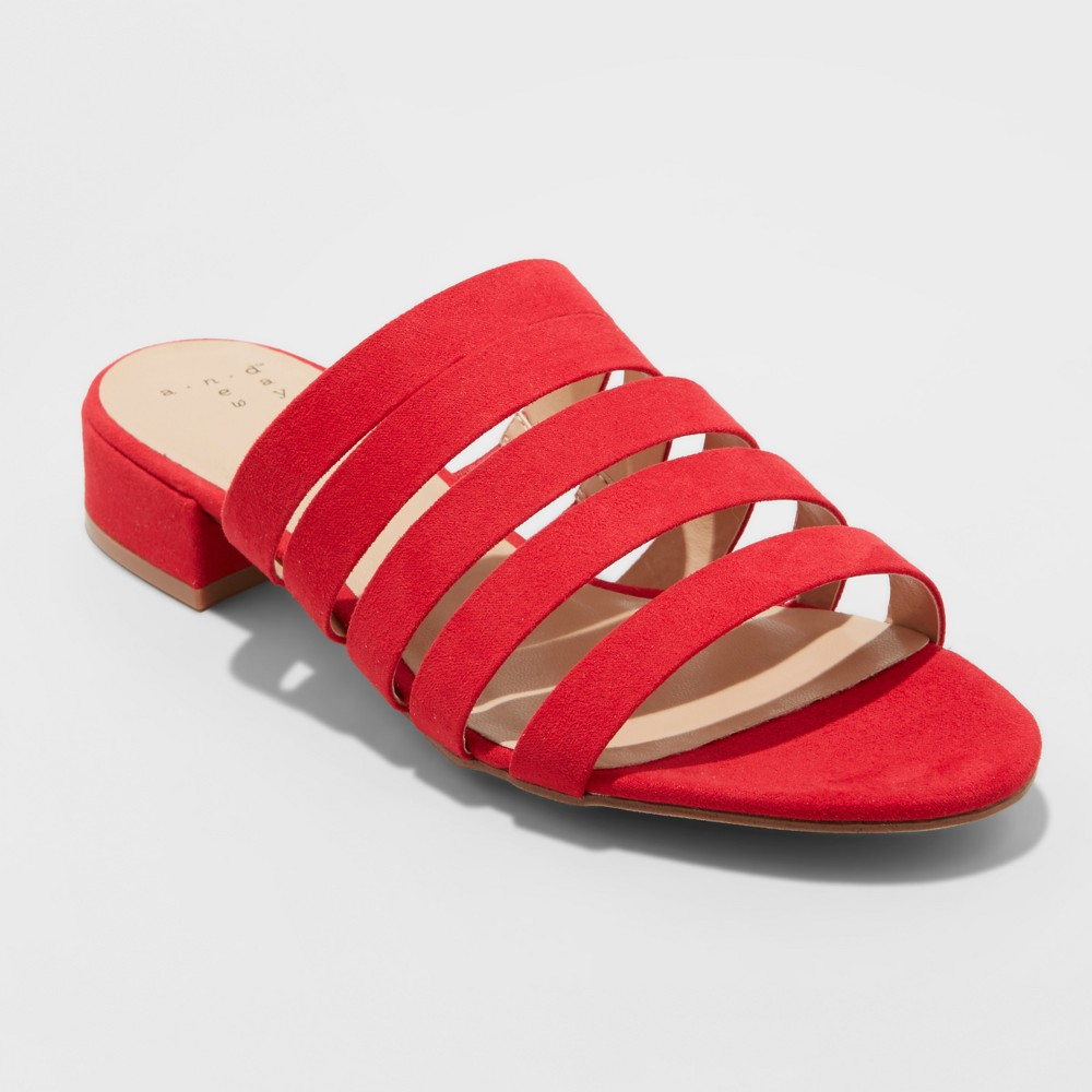 Women's Amali Wide Width Multi Strap Microsuede Low Heeled Slide Sandals - A New Day Red 6W, Size: 6 Wide