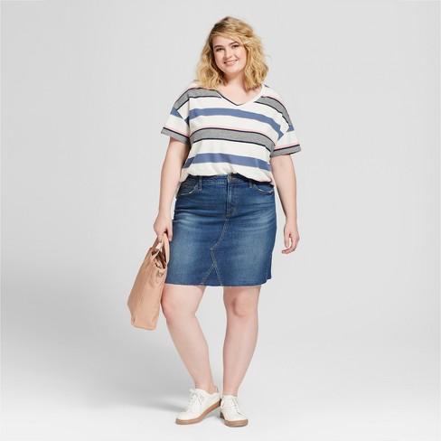 Womens Plus Size Denim Skirt Universal Thread Dark Wash Target
