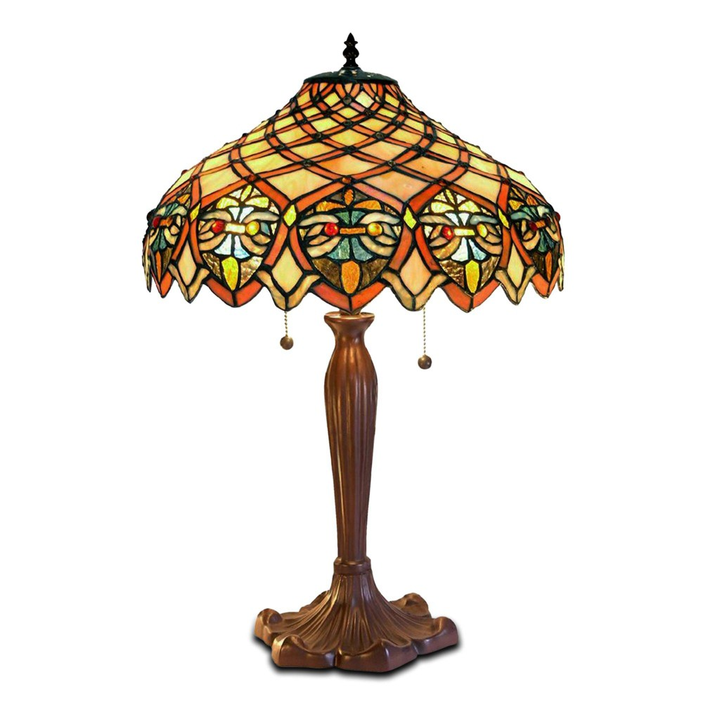 """Image of """"16"""""""" x 16"""""""" x 25"""""""" Tiffany Style Table Lamp Amber/Brown - Warehouse of Tiffany"""""""