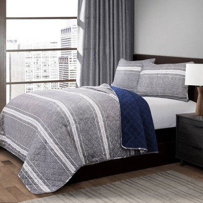 Gray Marlton Stripe Quilt Set - Lush Décor
