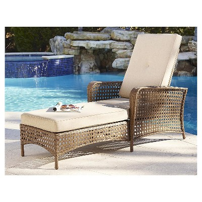 Superbe Cosco Lakewood Ranch Steel Woven Wicker Outdoor Adjustable Chaise Lounge  Chair With Cushions   Brown