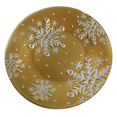 """Tabletop 12.0"""" Gold Snowflake Platter Fusion Christmas Gold Crest Distributing  -  Serving Platters"""