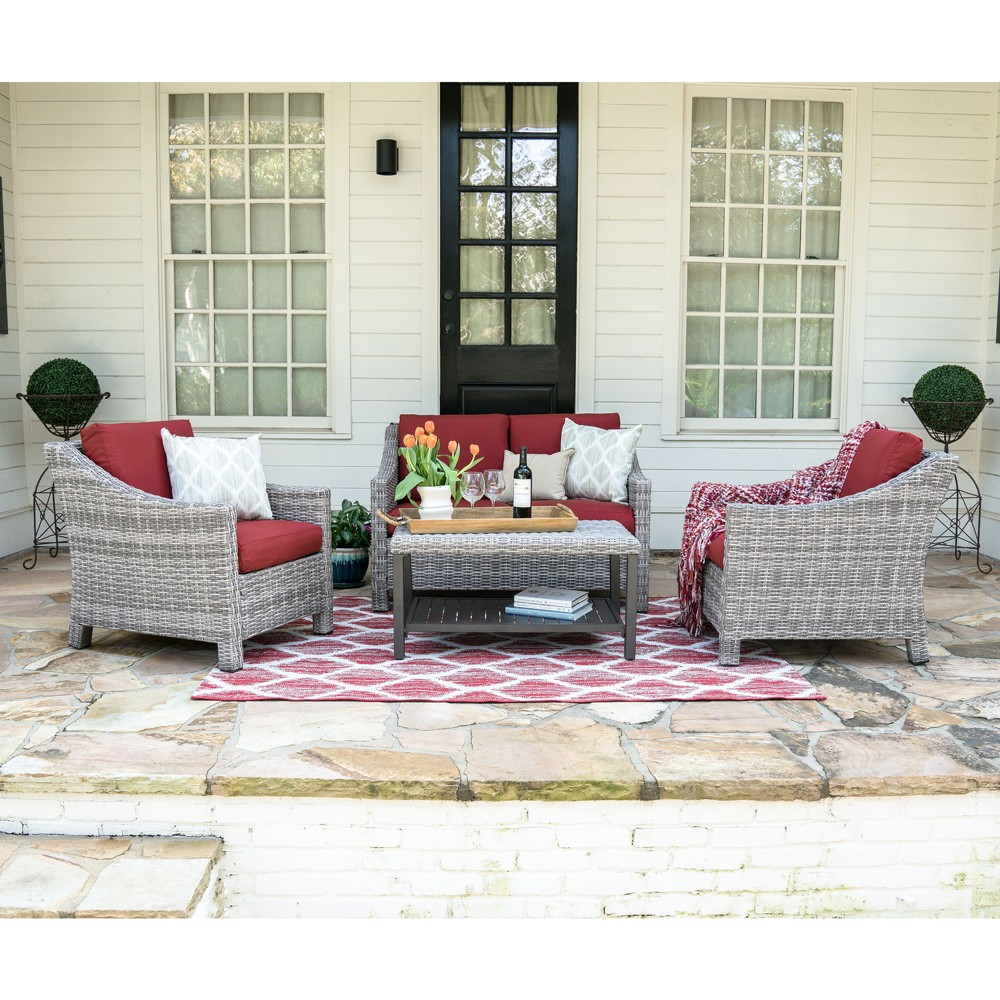 Image of 4pc Marietta All-Weather Wicker Chat Set Red - Leisure Made