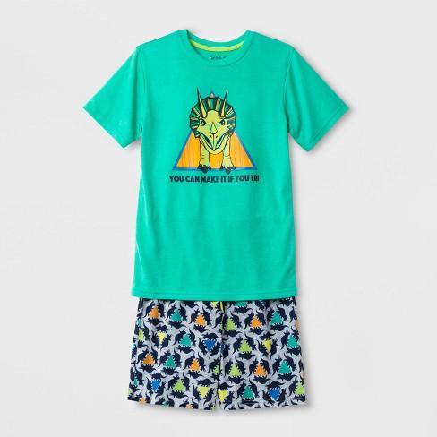 Boys' Dino Print Pajama Set - Cat & Jack™ Green - image 1 of 1