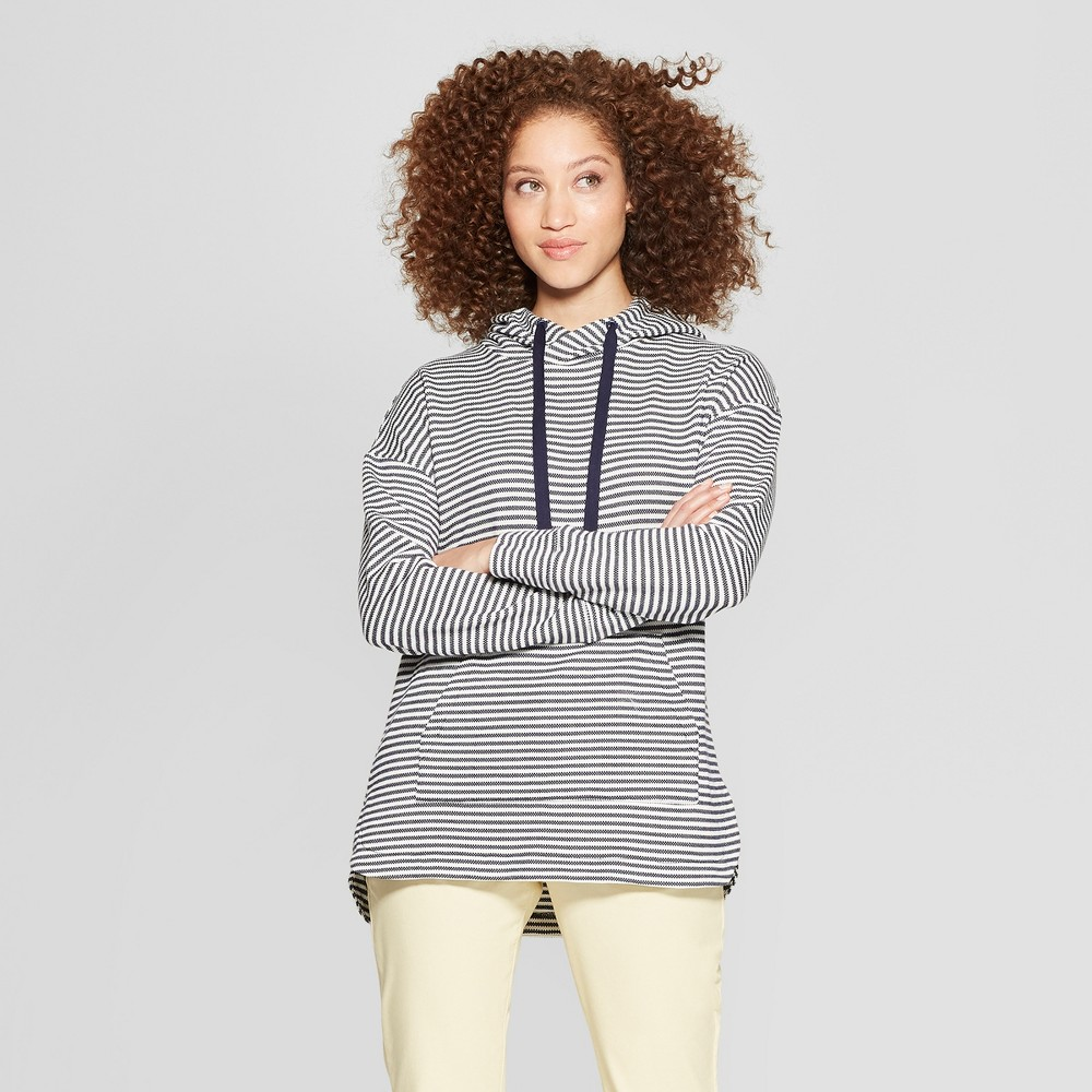 Women's Striped Long Sleeve Knit Hoodie - A New Day Navy/Cream XS, Blue Off-White