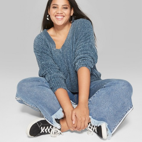 2bc3a52fc15 Women s Plus Size Chenille V-Neck Pullover - Wild Fable™ Blue 3X ...