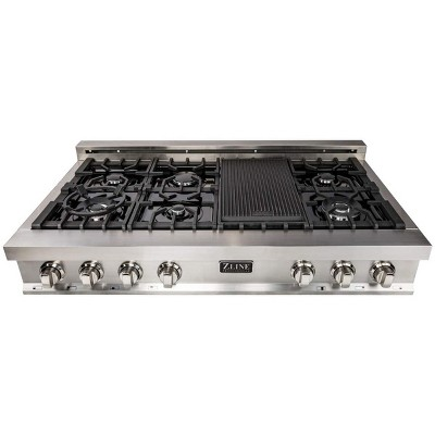 ZLINE RT48 48-Inch Porcelain Rangetop with 7 Gas Cooktop Italian Burners with Cast Iron Grill Stovetop, Stainless Steel
