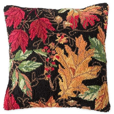 Hand-Hooked Wool Fall Leaves Throw Pillow