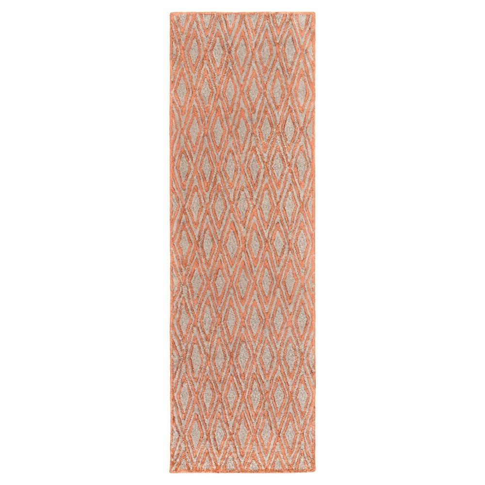 Deep Orange Solid Woven Runner - (2'6X8' Runner) - Surya, Burnt Orange