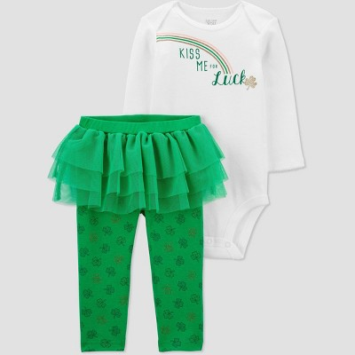 Baby Girls' 2pc St. Patrick's Day Top and Tutu Bottom Set - Just One You® made by carter's Green 3M
