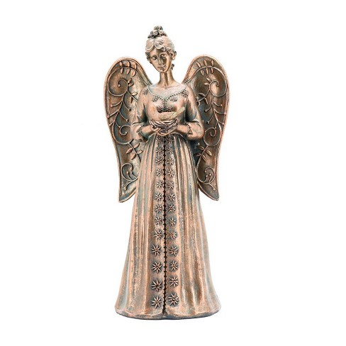 """14"""" Angel Holding a Dove with Solar Lights Outdoor Statue Bronze - Hi-Line Gift - image 1 of 3"""