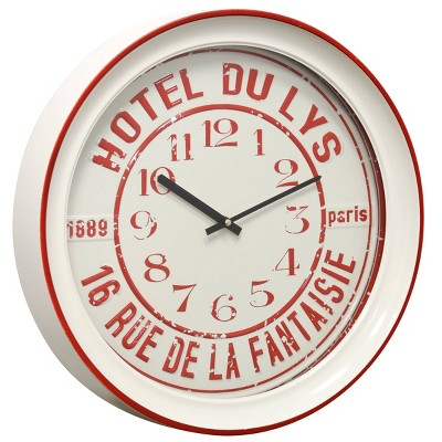 Round Hotel Wall Clock with Glass Front Semi Gloss White/Red - StyleCraft