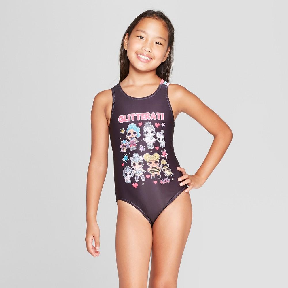 Girls' L.O.L. Surprise! One Piece Swimsuit - Black S