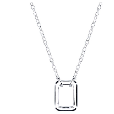 """Women's Sterling Silver Open square Station necklace - Silver (18"""") - image 1 of 2"""