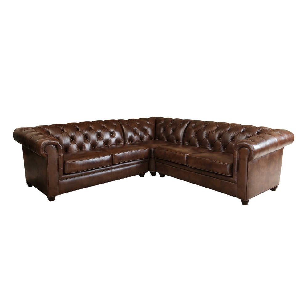 Image of 3pc Keswick Sectional Sofa Brown - Abbyson Living