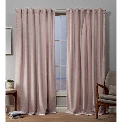 54 x84  Velvet Back Tab Light Filtering Window Curtain Panels Blush Pink - Exclusive Home
