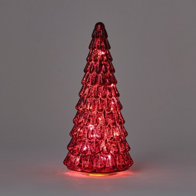 12in Mercury Glass Christmas Tree Decorative Figurine Dark Red - Wondershop™
