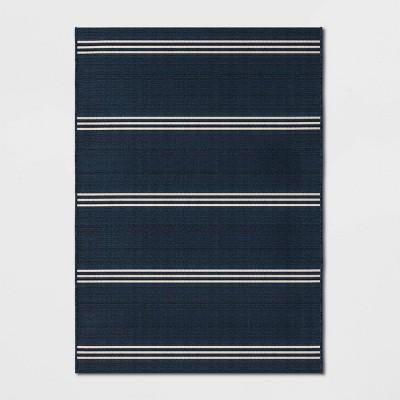5' x 7' Stripe Outdoor Rug Navy - Threshold™