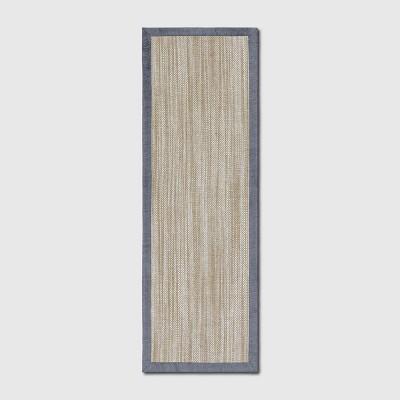"2'4""x7' Runner Solid Woven Boarder Rug Gray - Threshold™"