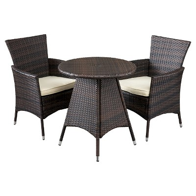 Melissa 3-piece Wicker Patio Bistro Set with Cushions - Brown - Christopher Knight Home