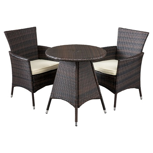 Melissa 3 Piece Wicker Patio Bistro Set With Cushions Brown Christopher Knight Home