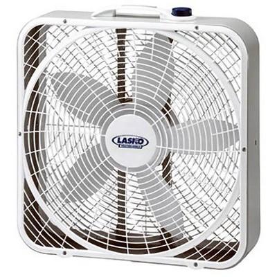 """Lasko 3 Speed Weather Shield Performance 20"""" Box Fan w/ Easy Carry Handle, White"""