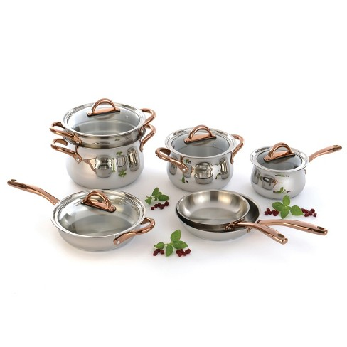 BergHOFF Ouro Gold 11Pc 18/10 Stainless Steel Cookware Set with Glass Lids - image 1 of 1