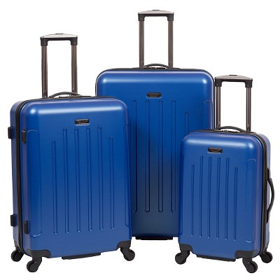 Heritage Lincoln Park 3 Piece Nested Luggage Set Cobalt Lightweight ABS Suitcases - Cobalt Blue ( 20  25 &29 )