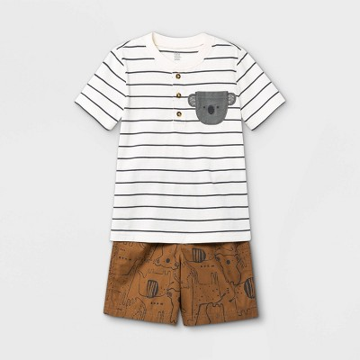 Toddler Boys' 2pc Koala Striped Henley Short Sleeve T-Shirt and Shorts Set - Just One You® made by carter's Cream