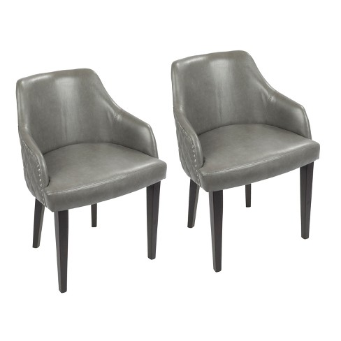 Esteban Contemporary Dining Chair with Chrome Studded Trim Espresso Gray - Lumisource - image 1 of 8
