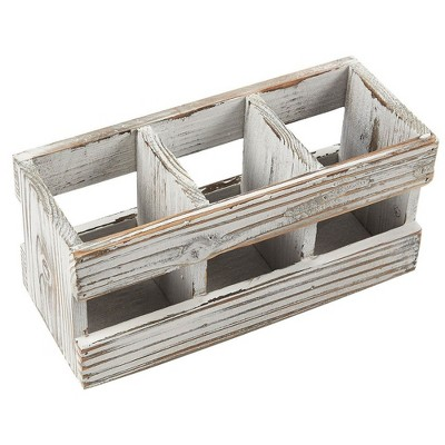 3 Compartments Wood Desk Organizer, Distressed Wooden Stationary Storage Caddy, Pen Holder, Office Supplies