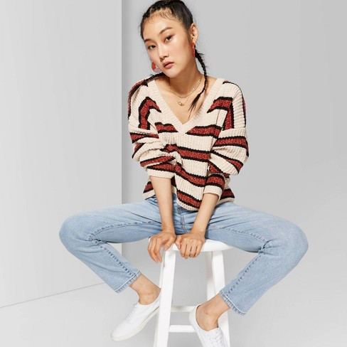 Women's Striped Long Sleeve  V-Neck Sweater - Wild Fable™ Beige/Brown - image 1 of 3