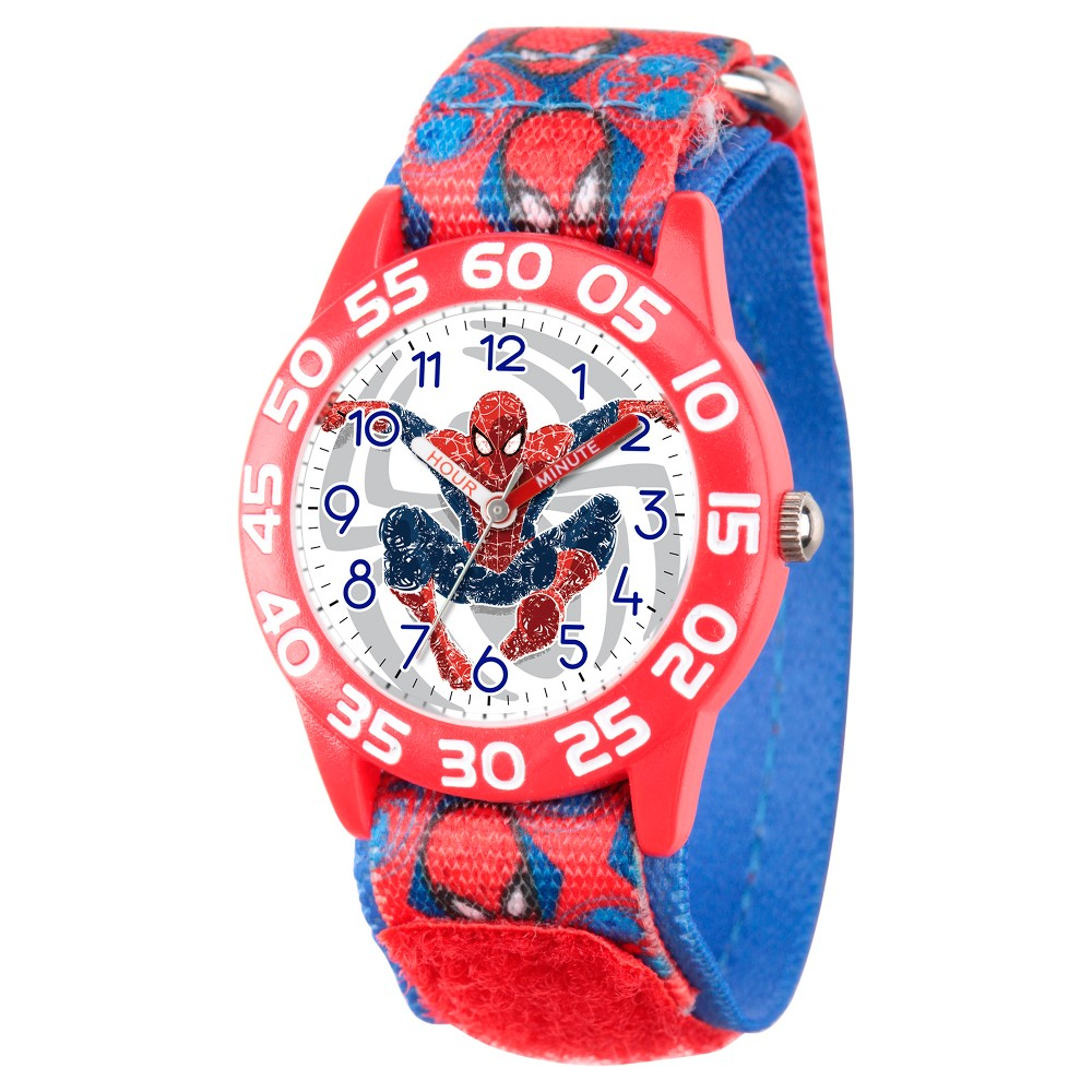 Boys' Marvel's Ultimate Spider-Man Red Plastic Time Teacher Watch - Red