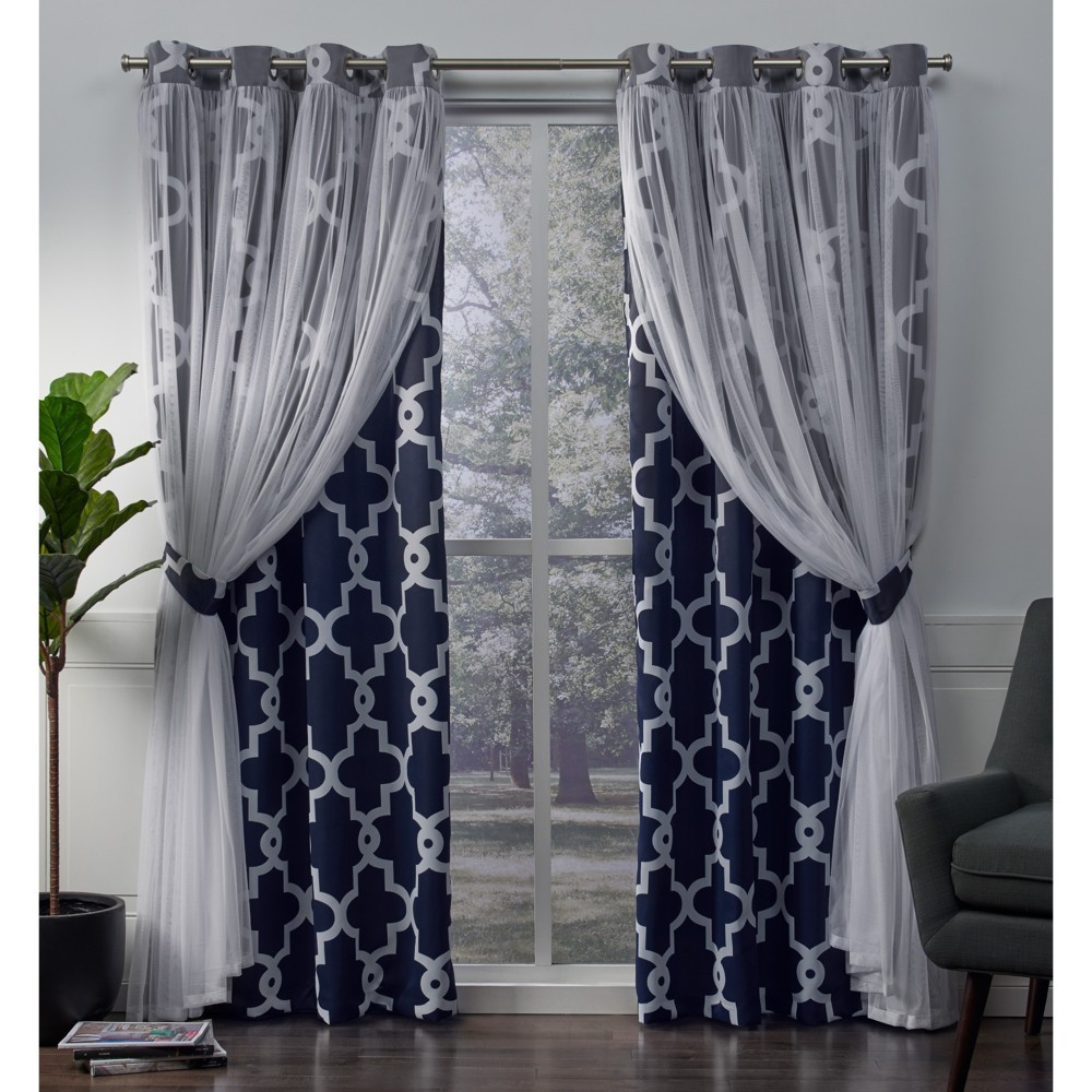 Image of Alegra Layered Geometric Woven Blackout with Sheer Top Curtain panels Indigo (Blue) 52x96 - Exclusive Home