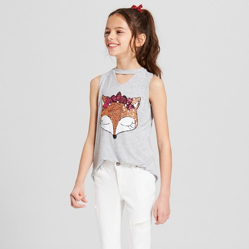 Miss Chievous Girls' Fox Gigi Graphic Tank Top - Gray - image 1 of 3