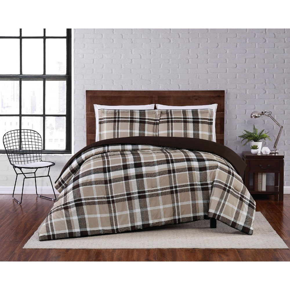 Full Queen 3pc Paulette Plaid Comforter Set Taupe Truly Soft