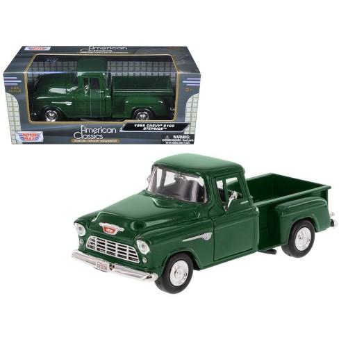 1955 Chevrolet 5100 Stepside Pickup Truck Green 1 24 Diecast Model