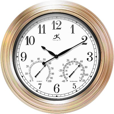 Infinity Instruments 14535CP-1679 Churchill 18.5 Inch Round Indoor/Outdoor Weatherproof Decorative Wall Clock for Patio, Pool, and Home, Copper