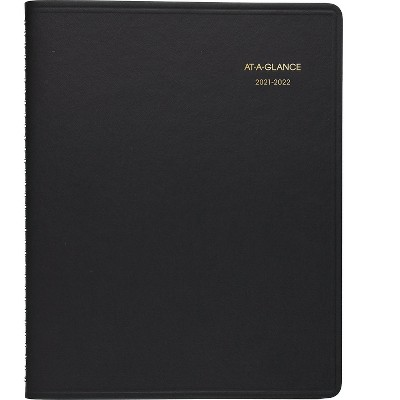 """AT-A-GLANCE 2021-2022 7"""" x 8.75"""" Academic Planner Black 70-958-05-22"""