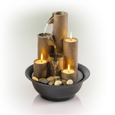 "Alpine Corporation 11"" Tiered Column Tabletop Fountain With Three Candles - Multi Color"