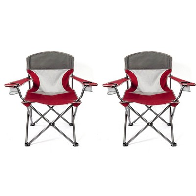 Mac Sports Heavy Duty Big Comfort Quad XL Folding Camping Chair, Red (2 Pack)