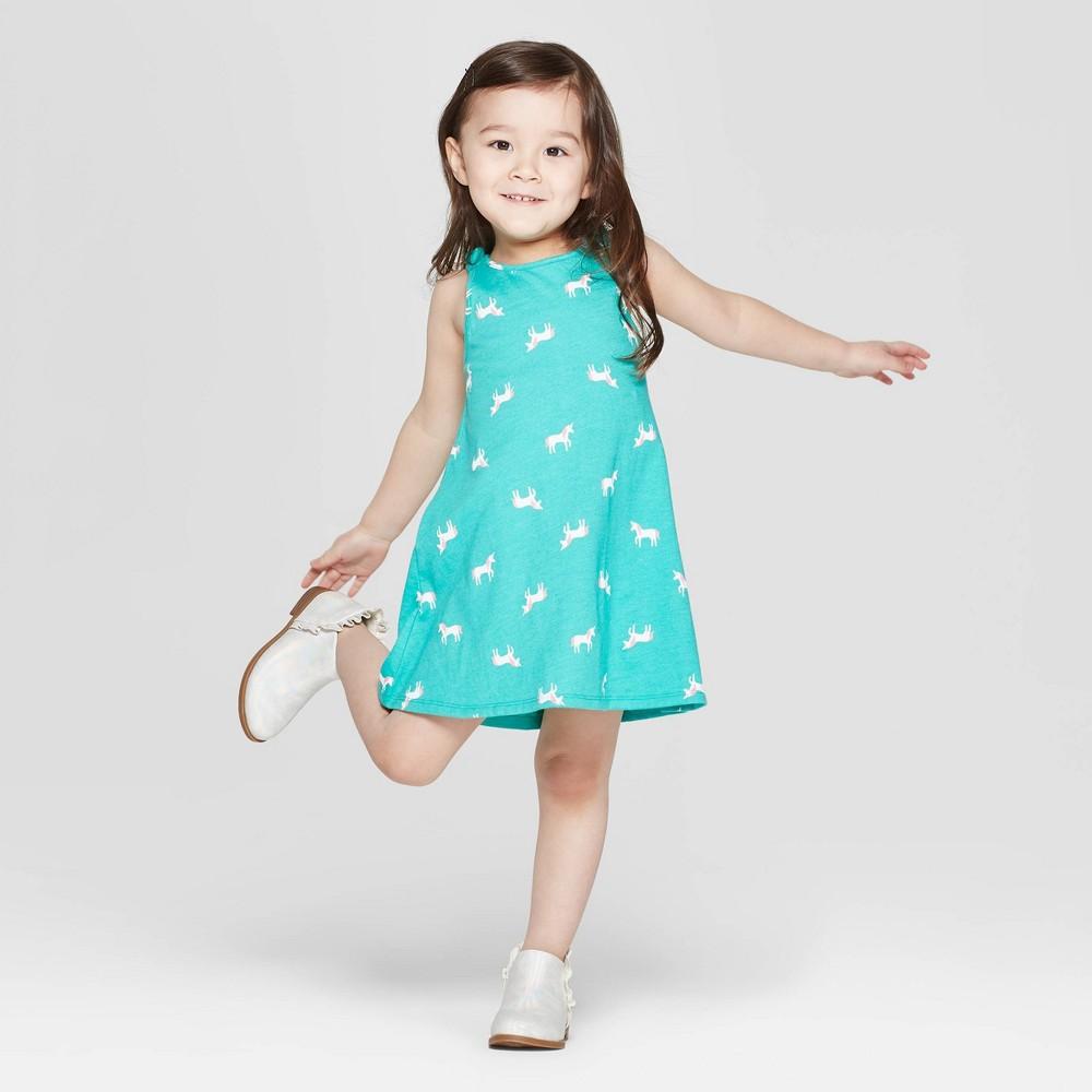 Toddler Girls' 'Unicorn' A Line Dress - Cat & Jack Aqua 12M, Green