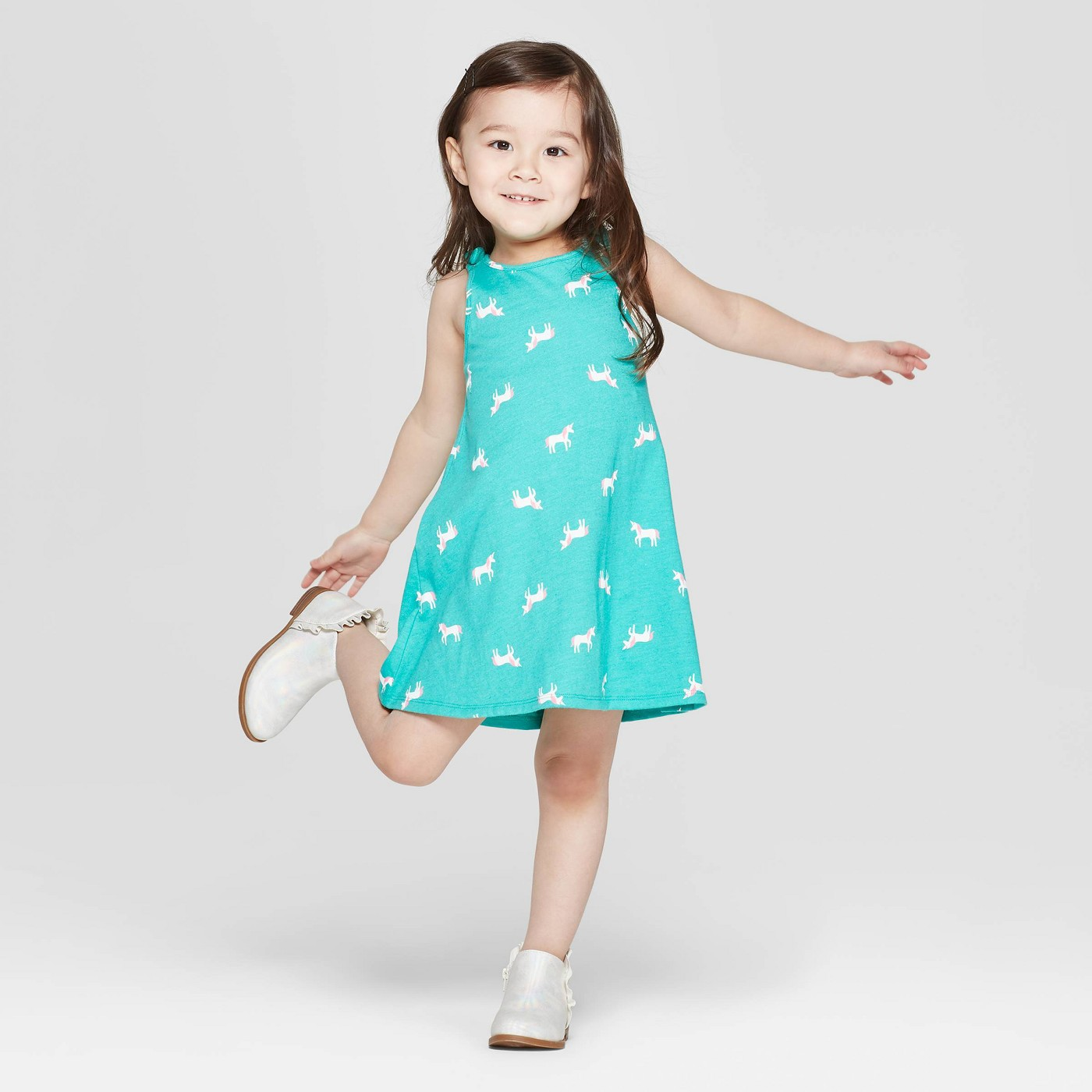 Toddler Girls' 'Unicorn' A Line Dress - Cat & Jack™ Aqua - image 1 of 3