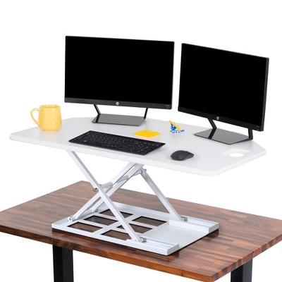 X-Elite Premier Corner Standing Desk Converter with Pneumatic Height Adjustment – White – Stand Steady