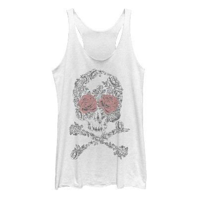 Women's Lost Gods Rose Skull and Crossbones Racerback Tank Top
