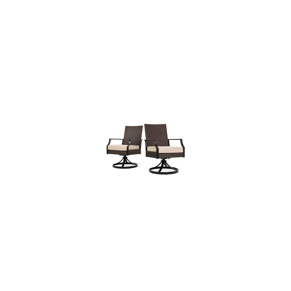 Image of Addyson 2pk Woven Swivel Outdoor Dining Chair with Sunbrella Spectrum Sand Cushion - Brown - La-Z-Boy