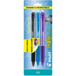 Pilot 3ct FriXion Clicker Erasable Retractable Gel Ink Pens Extra Fine Point 0.5mm