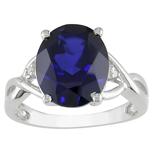 Created Blue Sapphire and Diamond Ring in Sterling Silver - Blue/White, Size: 7.0, Blue/Blue/Silver