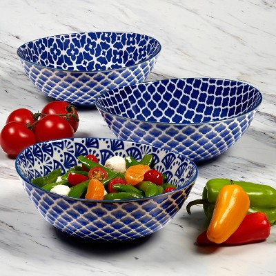 40oz 3pk Porcelain Petals Oval Serving Bowls Blue - Certified International