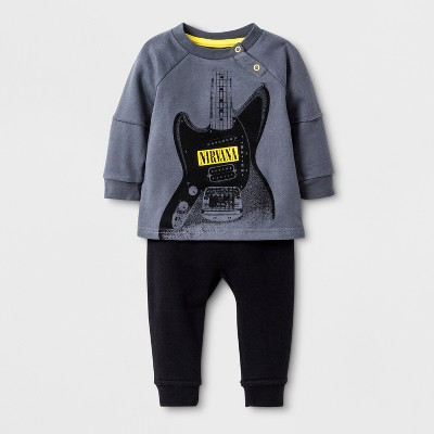 Baby Boys' Nirvana 2pc Henley and Jogger Set - Gray 0-3M